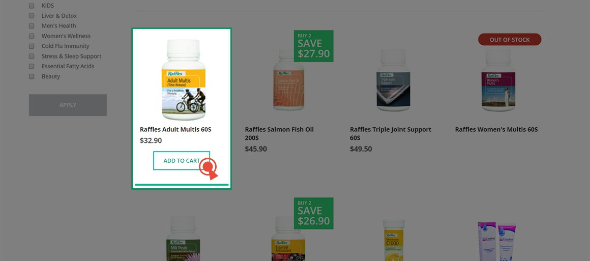2. Add the items into your shopping cart.